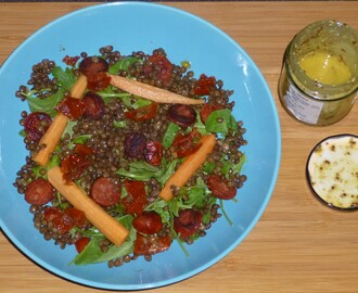 Puy Lentil, Pickled Carrot and Chorizo Salad with a Wholegrain Mustard Dressing Recipe