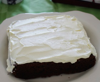 Dense chocolate Guinness cake with buttercream for St Patricks Day