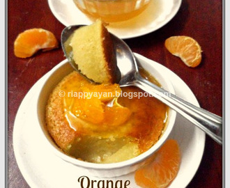 Baked Orange Pudding with Orange syrup