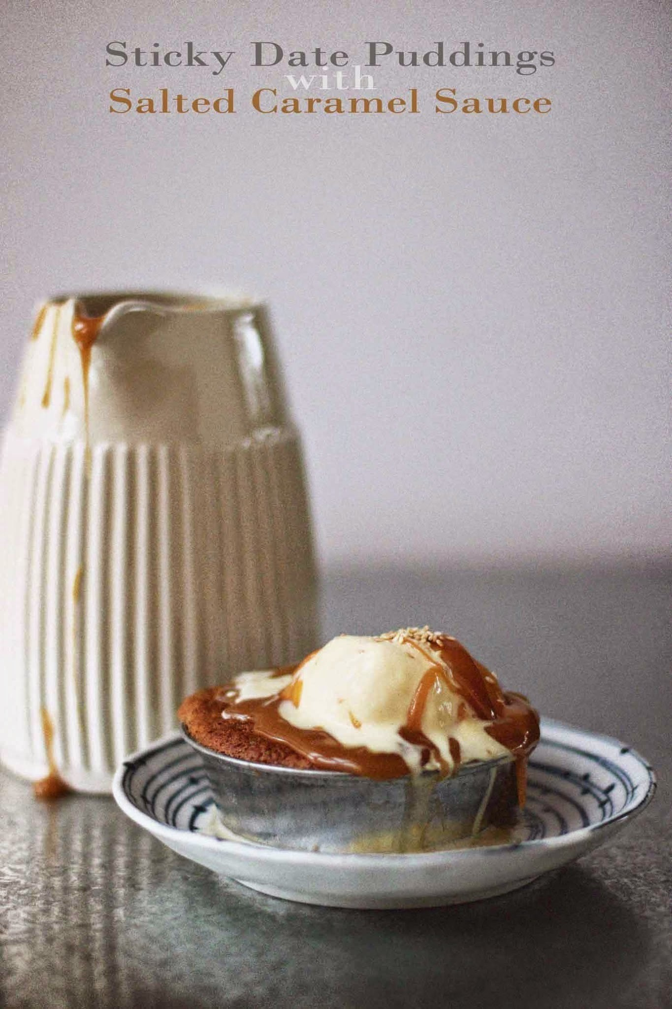 Sticky Date Puddings with Salted Caramel Sauce
