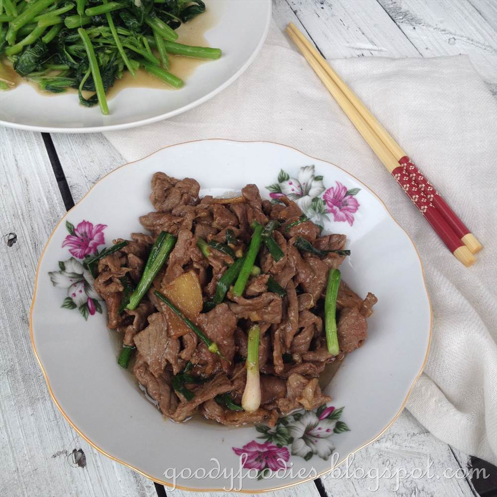 Recipe: Stir fried beef with oyster sauce and spring onions