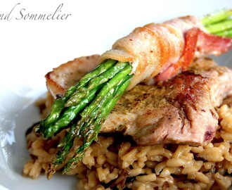 Sous Vide Pork Chop with Mushroom Risotto and Asparagus Bouquet