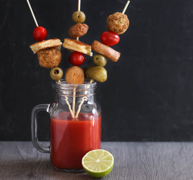 Vegetarian loaded Bloody Mary brunch