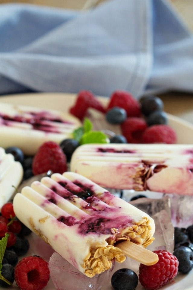 Breakfast Frozen Yogurt Popsicles with Blueberry Sauce and Oats