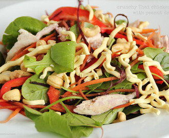 Crunchy Chicken Noodle Salad with Peanut Dressing