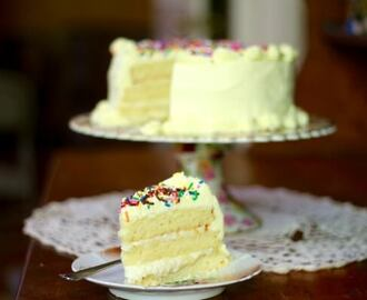 Lemon Layer Cake with White Chocolate Ganache