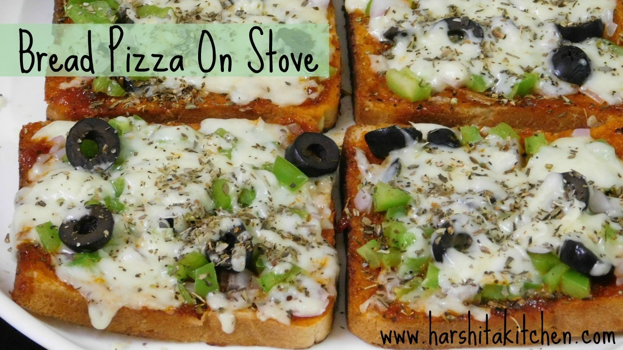 Bread Pizza on Stove/ Tawa | Eggless, No Bake Bread Pizza