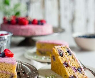 Blueberry Paleo Cake with Raspberry Coconut Cream