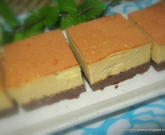 Coffee Yogurt Cheesecake with Brownie Base