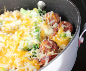 One Pan Sausage Rice and Broccoli