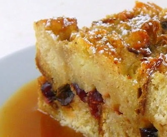 Cranberry Bread Pudding with Orange Hard Sauce - Thanksgiving Desserts