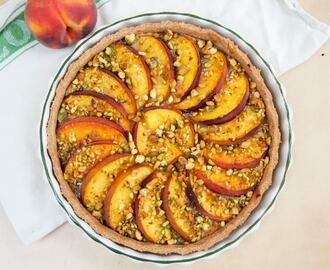 Peach and pistachio tart #SundaySupper