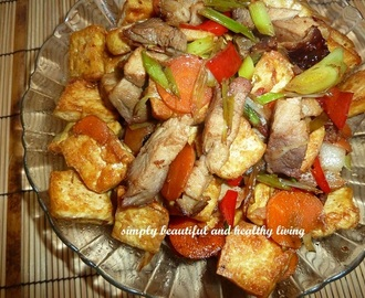 Stir Fried Chinese Leeks with Roast Pork and Hard Tofu (Taukwa/Bean Curd)