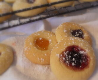 Jam Filled Thumb Print Cookies
