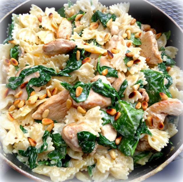 Skillet Chicken and Spinach Bowties