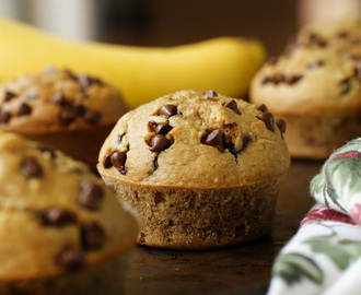 Flourless Banana Chocolate Chip Muffins