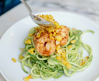 Creamy Avocado Zucchini Pasta with Charred Corn and Spicy Shrimp