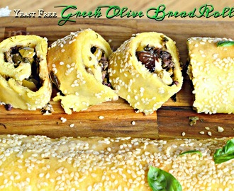 No Yeast Greek Olive Bread Roll