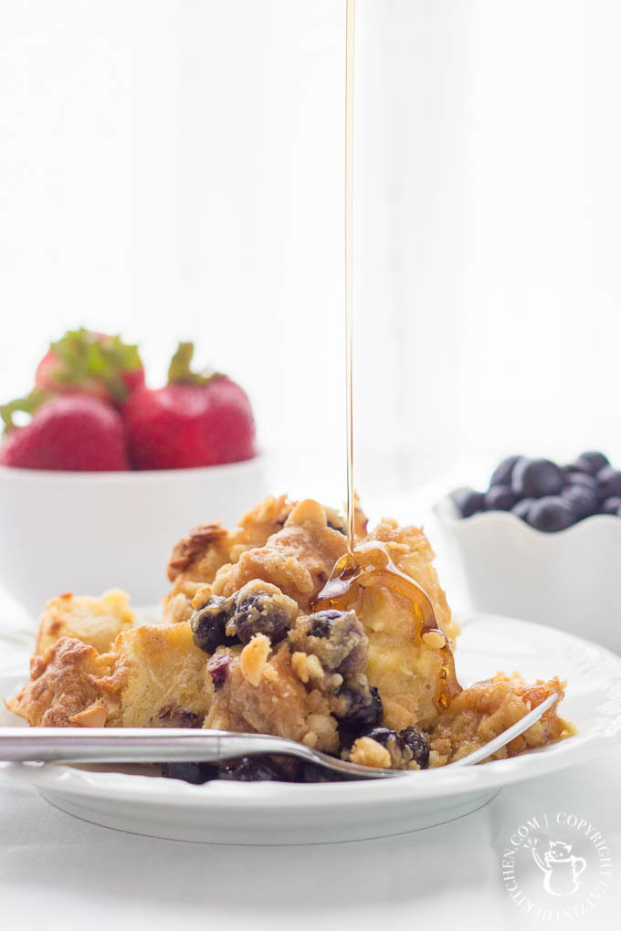 Overnight Blueberry French Toast with Macadamia Nut Topping