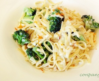 Espaguetis con crema, brécol y aroma de mandarina / Spaghetti with cream, broccoli and mandarin