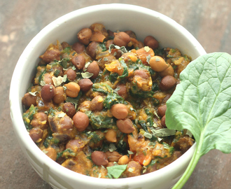 Kala Channa And Palak Subji. Brown Chickpeas And Spinach Curry