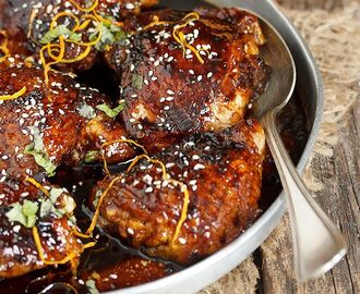 Sticky Sweet and Spicy Asian Chicken Thighs - Seasons and Suppers | Chicken thights recipes, Spicy asian chicken, Asian chicken thighs