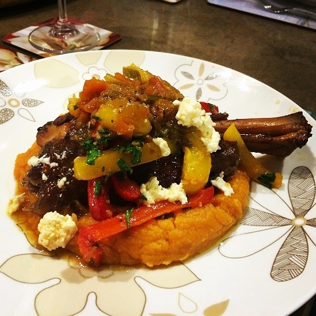 Braised lamb shank with sweet peppers and feta on a bed of sweet potato mash ... in the Thermomix