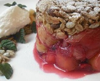 Rhubarb, Rosella and Apple Crumble with Buffalo Milk Yoghurt
