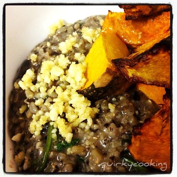 Brown Rice Mushroom Risotto with Macadamia Cheese