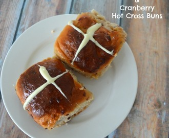 White Chocolate and Cranberry Hot Cross Buns