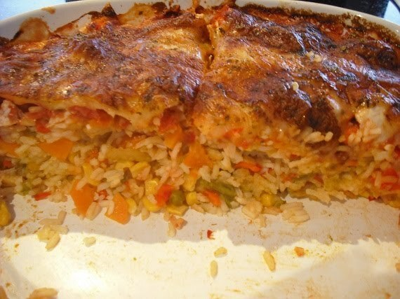 Chicken and Mozerella Rice Bake