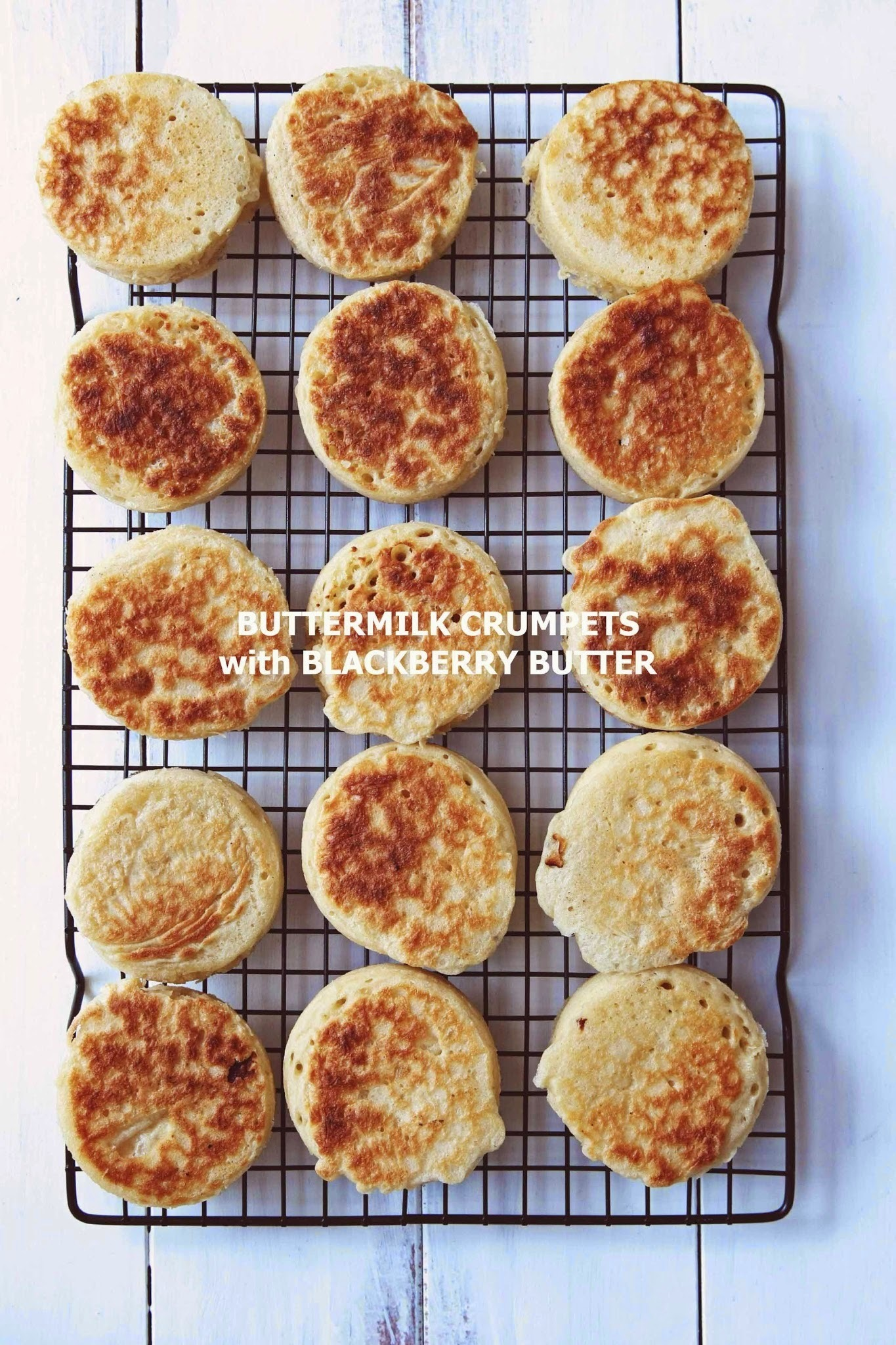 Buttermilk Crumpets with Blackberry Butter