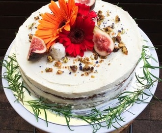 Carrot Cake with Cream Cheese Frosting and Candied Pistachios