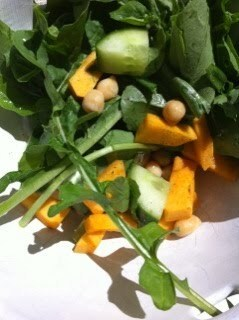 Chickpea and pumpkin salad with rocket from the backyard.