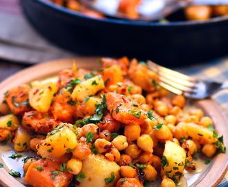 sweet potato, turnip and chickpea hash