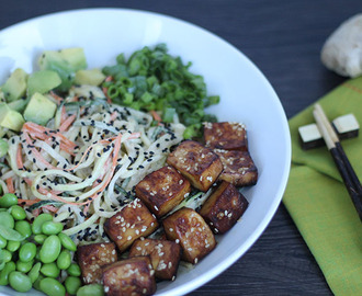 Meatless Monday: Spiralized Vegetable Tahini Bowl with Tofu, Edamame & Avocado