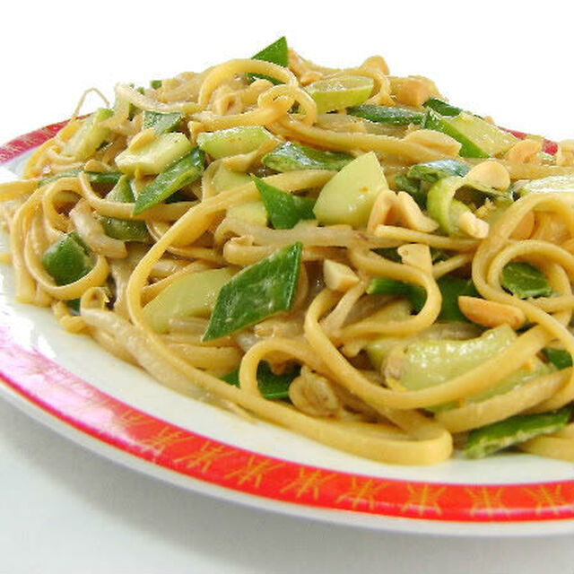 Asian-Style Pasta with Peas, Peanuts and Cucumbers