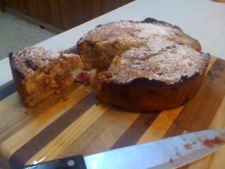 Raspberry, Pear and Almond Cake