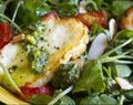 Gluten Free Roasted Halloumi and Tomato Salad with Pesto Vinaigrette