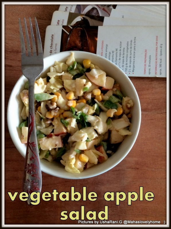 Mixed vegetable apple salad | Easy veg salad for lunch or dinner | Simple veg salad with apple