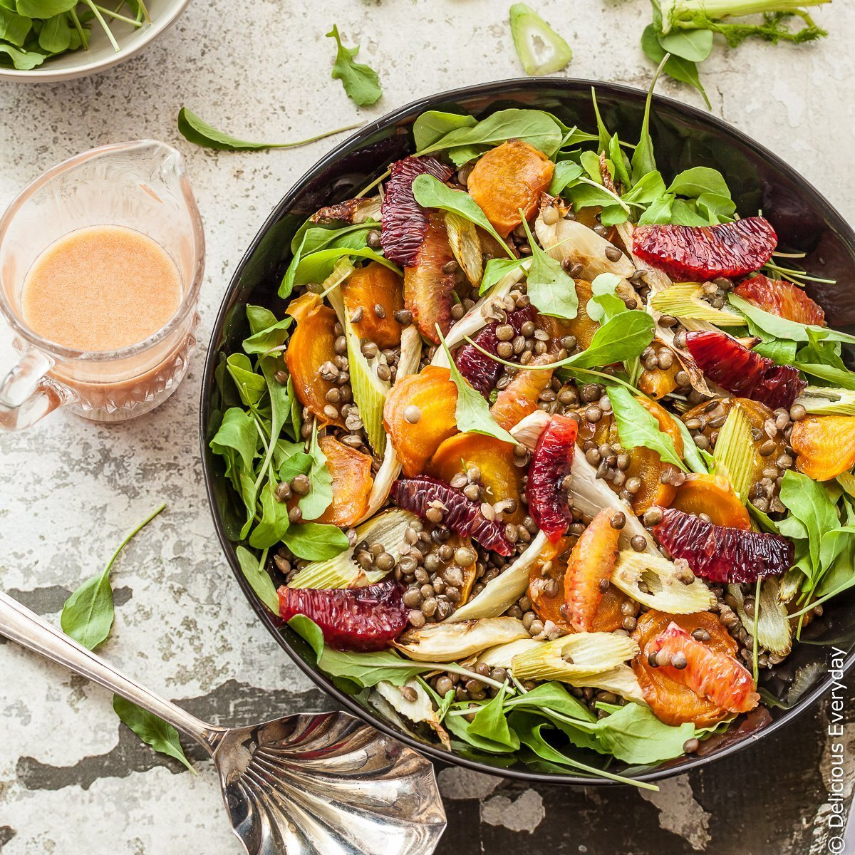 Roast Beetroot Salad with Lentils, Fennel and Blood Orange in a Blood Orange Dressing