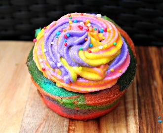Rainbow cupcake recipe with rainbow frosting