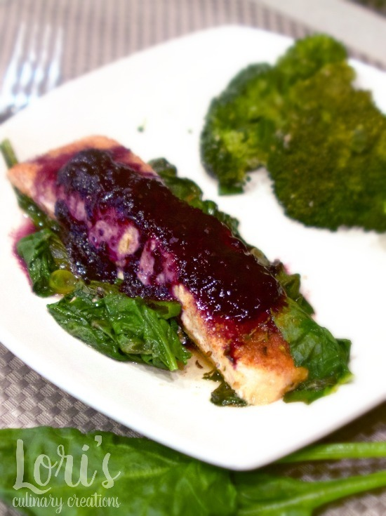 One Skillet Salmon & Spinach with Blueberry Balsamic Topping #CIC