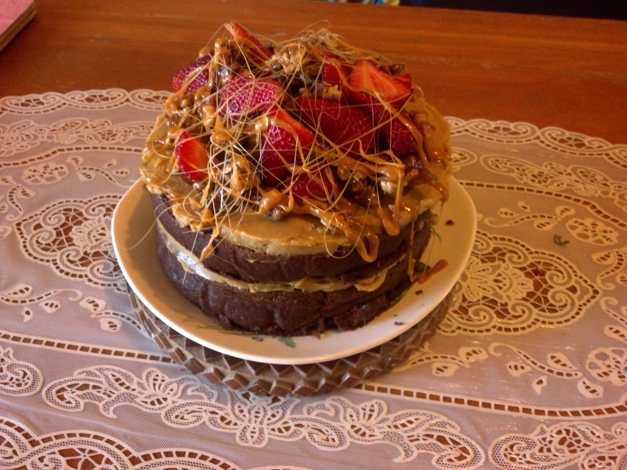 Gluten Free Chocolate Cake with Caramel Frosting