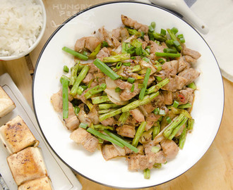 家常便饭 - 长豆炒猪肚 (Chinese Long Bean & Pork Belly Stir-Fry)