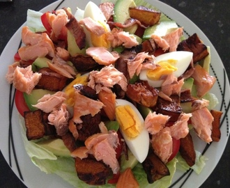 Smoked Salmon Fillet Salad with Bacon, Avocado and Balsamic Roasted Pumpkin