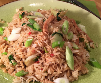 Spicy pork rice with pak choi