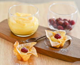 Raspberries and Lemon curd in Wonton Cup