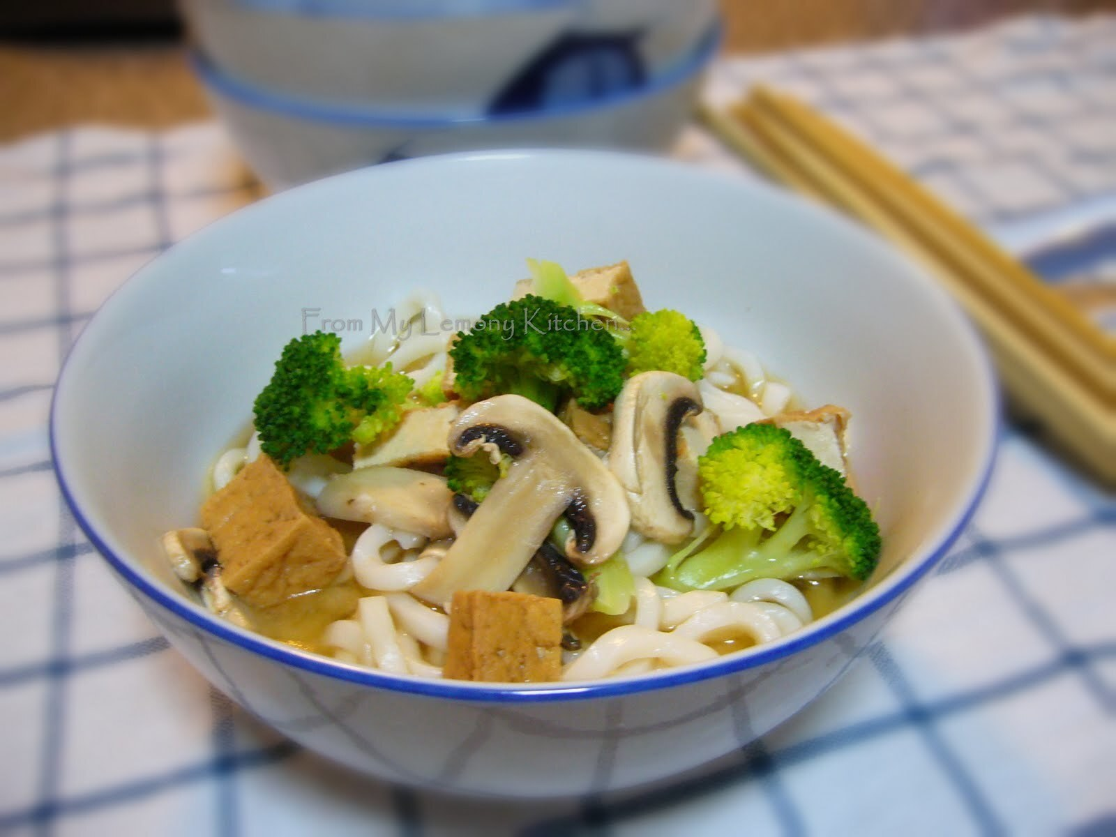 Japanese tofu, brocolli and miso soup noodle