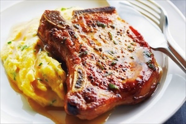 Pork Chops With Cider Sauce and Creamy Herb Polenta